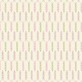 Agra (Linen Union) - 2 - Pink, purple and green chevrons arranged neatly over cream coloured linen fabric