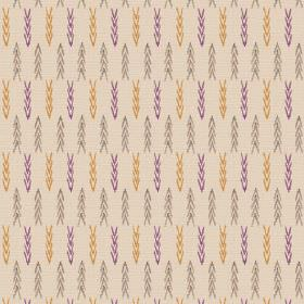 Agra (Linen Union) - 5 - Beige coloured linen fabric decorated with grey-brown, mustard yellow and purple chevrons arranged in rows