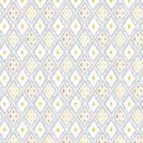 Chennai (Cotton) - 1 - Cotton fabric covered in patterned diamonds in blue-grey, white, yellow, light green and brown