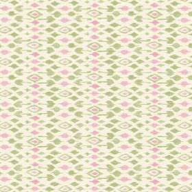Jodhpur (Linen Union) - 2 - Linen fabric in white, covered in rows of light pink and green diamonds