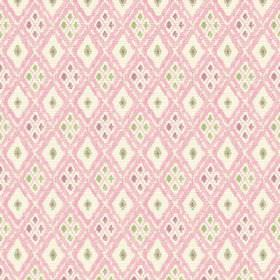 Chennai (Linen Union) - 2 - White linen fabric patterned with pale pink diagonal lines and tiny purple and green diamonds