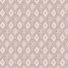 Chennai (Linen Union) - 3 - Pink, grey and pale pink-brown diamond patterned linen fabric