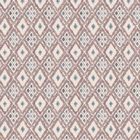 Chennai (Cotton) - 4 - Diamonds of different sizes on cotton fabric in brown, cream and dusky blue