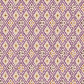 Chennai (Linen Union) - 5 - Purple diagonal lines printed on cream coloured linen fabric, with small gold, green and grey diamonds