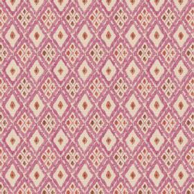 Chennai (Linen Union) - 6 - Dark pink, cream, orange and green-grey diamonds repeatedly printed on linen fabric