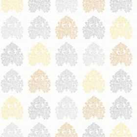 Kerala (Linen Union) - 1 - Blue, beige and pale yellow shapes which are very intricately patterned, on plain white linen