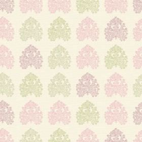Kerala (Cotton) - 2 - Cream coloured cotton fabric covered in intricate patterns in pale green, purple and pink