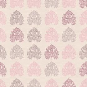 Kerala (Linen Union) - 3 - Spade shapes with very intricate pink, purple and grey patterns, printed on a pale linen fabric background