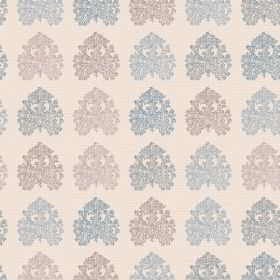 Kerala (Linen Union) - 4 - Intricate designs in blue and grey shades upon a cream linen fabric background