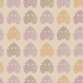 Kerala (Linen Union) - 5 - Detailed designs in grey, purple and orange-gold arranged in neat rows on cream linen