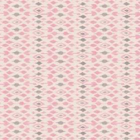 Jodhpur (Linen Union) - 3 - Diamonds in rose pink and grey which have been arranged in rows over light pink linen fabric