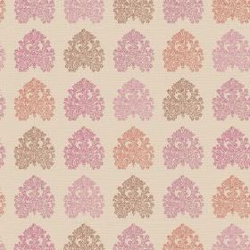 Kerala (Linen Union) - 6 - A repeated pattern of detailed spade shapes printed in pinks, light red and brown on cream coloured linen