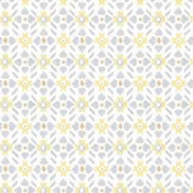 Cochin (Cotton) - 1 - White cotton fabric featuring a simple pattern in pale yellow, grey-blue and light brown