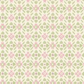 Cochin (Linen Union) - 2 - A design of simple light pink and green shapes on fabric made from white linen