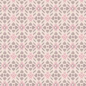 Cochin (Linen Union) - 3 - Grey flower type shapes with rose pink hash tag shapes on a background of pale pink linen