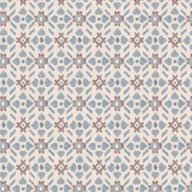 Cochin (Cotton) - 4 - Fabric made from cream, grey and blue patterned cotton