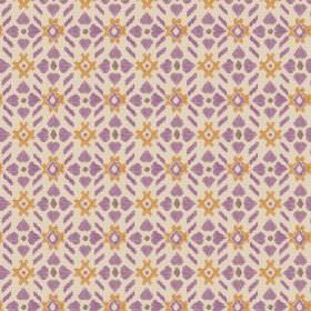 Cochin (Linen Union) - 5 - A repeated pattern of purple flower type shapes and orange symbols on a cream linen fabric background