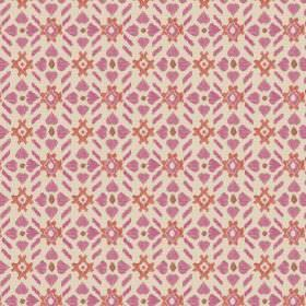 Cochin (Linen Union) - 6 - Cream coloured linen fabric printed with a repeated pattern in pink and orange-red