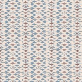 Jodhpur (Linen Union) - 4 - Putty coloured linen fabric covered with a pattern of grey and dusky blue diamond shapes