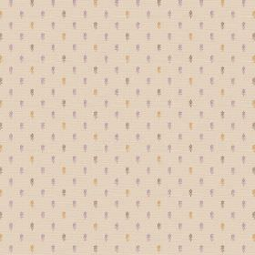 Pondicherry (Cotton) - 5 - Cotton fabric in a creamy beige colour, covered in specks of gold, purple and grey