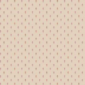 Pondicherry (Linen Union) - 6 - Cream coloured fabric made from linen, with pink-purple and red-orange dashes arranged in neat rows