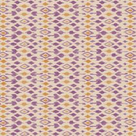 Jodhpur (Linen Union) - 5 - Linen fabric in cream, with a pattern of gold-orange and purple diamonds