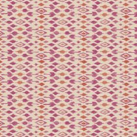 Jodhpur (Linen Union) - 6 - Rows of shapes including diamonds in red-orange and purple against cream coloured linen