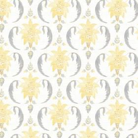 Jaipur (Cotton) - 1 - Yellow leafy star shapes beside grey shapes resembling apostrophes on a plain white cotton fabric background