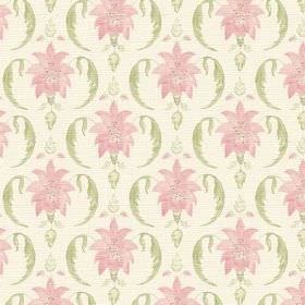 Jaipur (Linen Union) - 2 - Leafy bursts in pale pink with light green curves printed on off-white linen fabric