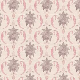 Jaipur (Cotton) - 3 - Grey and pink shapes printed repeatedly over cotton fabric in a very pale shade of pink