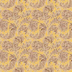 Kalanga (Linen Union) - 1 - Linen fabric in bright yellow, with swirls of dry brown leaves printed on top