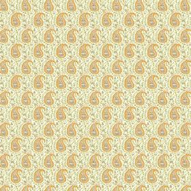 Doda (Cotton) - 1 - A repeated yellow, brown and light green paisley print cotton fabric