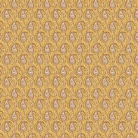Doda (Cotton) - 2 - Small grey paisley shapes printed in rows over golden coloured cotton fabric