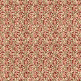 Doda (Linen Union) - 3 - Linen fabric with a busy pattern in shades of green, red and salmon pink, including small paisley shapes