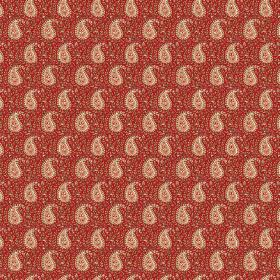 Doda (Linen Union) - 4 - Regularly printed cream coloured detailed paisley shapes upon patterned dark red linen fabric