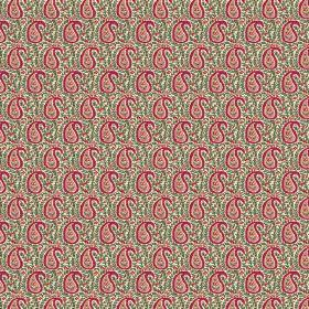 Doda (Cotton) - 5 - A pattern of dark and light paisley shapes printed over patterned green cotton fabric