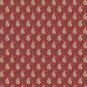 Doda (Linen Union) - 6 - Paisley shapes in cream against a dark red linen background, with lots of intricate detail