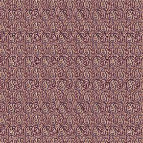 Doda (Linen Union) - 8 - Purple and light brown coloured paisley print linen fabric