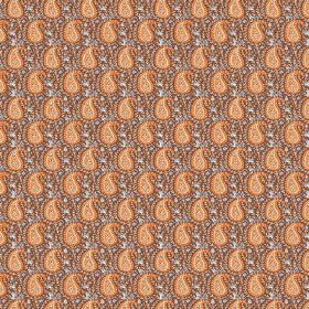 Doda (Cotton) - 9 - Rows of small orange paisley shapes against a patterned cotton fabric background which is mostly brown in colour