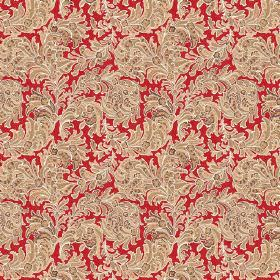 Kalanga (Linen Union) - 2 - Light brown leaves arranged in swirls and printed on linen fabric in a bright shade of red