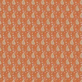 Doda (Linen Union) - 10 - Linen fabric patterned with rows of grey-cream paisley shapes against a burnt orange background