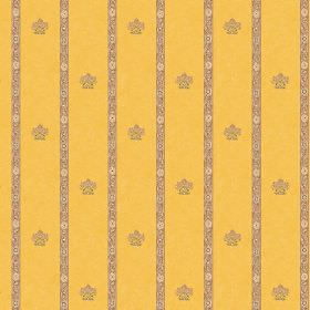 Padum (Cotton) - 1 - Custard yellow coloured cotton fabric patterned with narrow light brown stripes and small light brown images