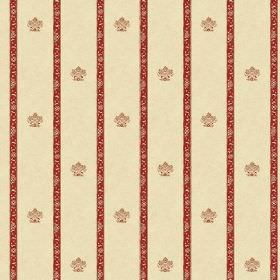 Padum (Cotton) - 2 - Small crest designs arranged in rows between patterned dark red stripes on a cream coloured cotton fabric background