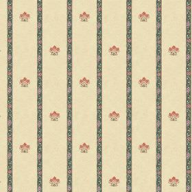 Padum (Linen Union) - 3 - A tiny crest design repeatedly printed between dark green stripes on cream coloured linen fabric