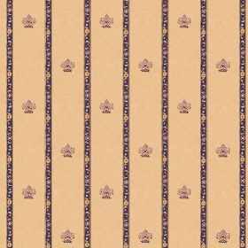 Padum (Linen Union) - 4 - Dark purple stripes and coordinating crests printed on caramel coloured linen fabric