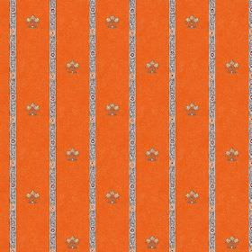 Padum (Cotton) - 5 - Fabric made from bright orange cotton with a pattern of small crests and narrow patterned grey and white stripes