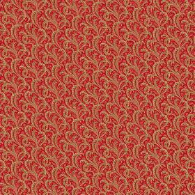 Topa (Cotton) - 4 - Luxurious golden brown and bright red swirl print cotton fabric