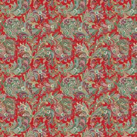 Kalanga (Linen Union) - 3 - Green, purple and red leafy swirl patterned linen fabric