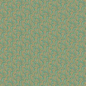 Topa (Cotton) - 5 - Cotton fabric decorated with swirls in shades of green and gold