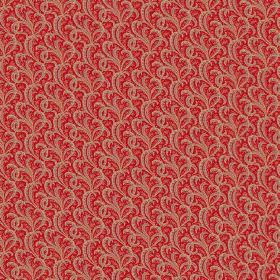 Topa (Cotton) - 6 - A grey-beige swirl pattern printed repeatedly over bright red cotton fabric